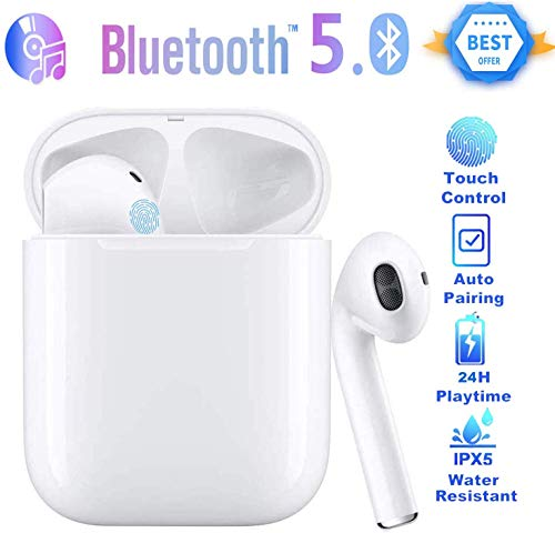 Wireless Earbuds,Bluetooth Headphones 3D Stereo, Touch Anti-Sweat Noise Cancelling in-Ear Earbuds, 22 Hours Playtime Pop-ups Auto Pairing with Charging Case and HD Microphone