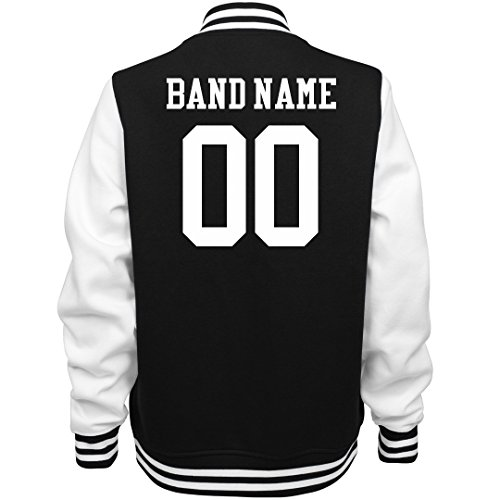 Customized Girl Marching Band Bomber Jacket: Ladies Fleece Letterman Varsity Jacket Black/White