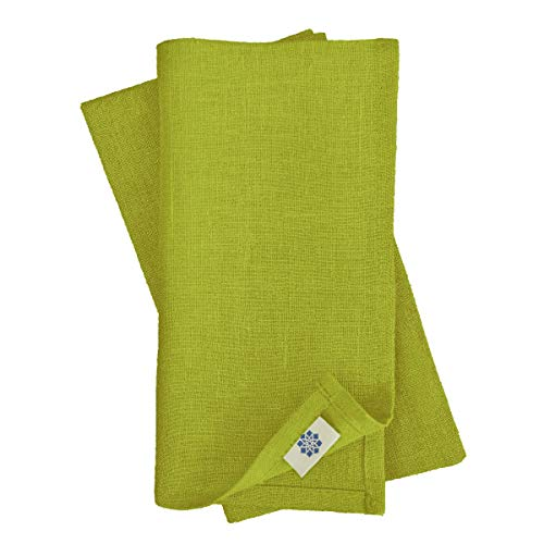 Linen & Cotton Set de 4 Servilletas de Tela Hygge - 100% Lino, Verde (45 x 45 cm) Cuadradas Lavable para Hogar Cocina Comedor Cena Mesa de Centro Cumpleanos Boda Fiesta Navidad Eventos