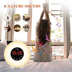 Wake Up Light Alarm Clock - JONYJ Sunrise Alarm Clock with 7 Color Light - Sunrise Sunset Simulator With Night Light - Nature Sounds with FM Radio Alarm - Snooze Function Alarm Clock