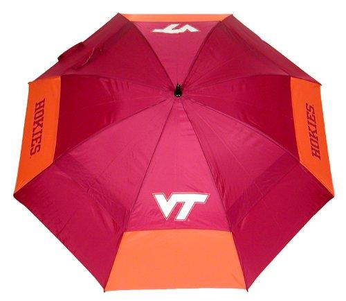 "Team Golf NCAA Virginia Tech Hokies 62"" Golf Umbrella with Protective Sheath, Double Canopy Wind Protection Design, Auto Open Button"