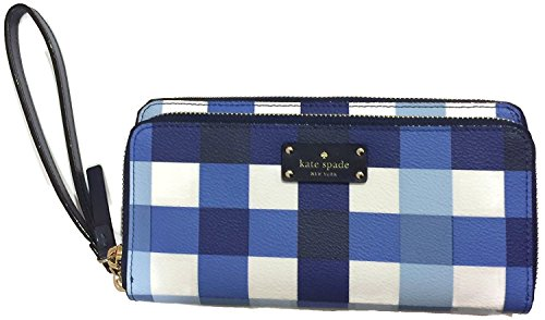 Kate Spade Grove Street Anita Wallet iphone 6 plus iphone 7 plus Large Wristlet (Blue Checker) by Kate Spade New York