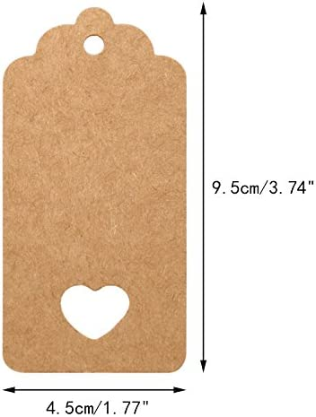 Kraft brown gift tags rectangle scalloped tags with heart cutout set of 10 25 50 80 for wedding bomboniere party decoration gift wrapping