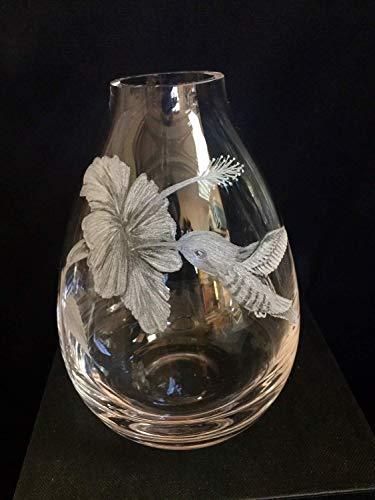 Etched Floral Vase - Hand Engraved Hummingbird Vase, Engraved Hummingbird, Etched Birds, Hummingbird Floral Bud Vase, Crystal Bud Vase