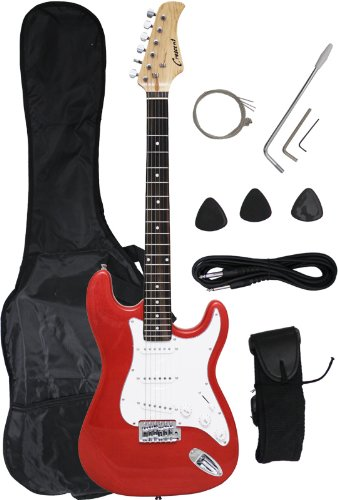 Crescent 39-Inch Electric Guitar with Gig Bag and Accessories – Metallic Red