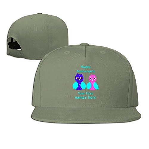 Runy Custom Happy First Anniversary Cute Owl Couple Adjustable Baseball Hat & Cap ForestGreen (Indian Couple Costume)