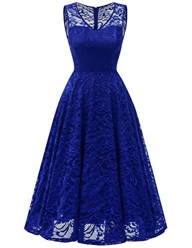 Meetjen Women's Cocktail V-Neck Dress Floral Lace Tea-Length Bridesmaid Party Dress Midi RoyalBlue L