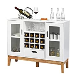 Home Bar Cabinetry Giantex Buffet Sideboard, Wood Kitchen Server, Storage Cupboard, Wine Rack, 2 Cabinets, Drawer and Open Shelf, Dining… home bar cabinetry