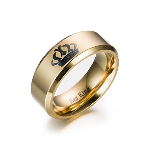 New Crown Ring, Her King Ring Band, His Gold Color Stainless Steel Ring, Wedding Anniversary Gift for Men 8mm (His Size (Cheap Gold Crowns)