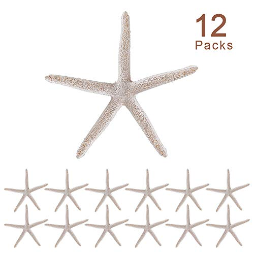Joy-Leo 4 Inch White Finger Resin Starfish (12-Count/Gift Edition), White Decorative Sea Stars for Nautical Themed Christmas Tree Ornaments &Beach Wedding &Party Decor &Home Decoration &Craft Project
