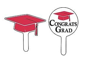 Creative Converting 24 Count Graduation Cap/Congrats Grad Cupcake Picks, Red
