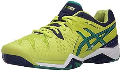 ASICS Men's GEL-Resolution 6 Tennis Shoe, Lime/Pine/Indigo Blue, 6 M US