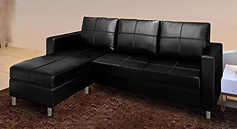 Divano Nero Moderno : Frizzo divano ecopelle nero moderno con chaise longue e cuscini