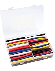 RockDIG 123Pcs 6-Diameters 1/2 3/8 1/4 3/16 1/8 3/32 Inch 3:1 Heat Shrink Tubings, Dual-Wall Adhesive Lined, 5-Colors Black Red Yellow Blue White for Each Diameter