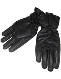 Mens Sleek Black Leather Gloves with Fleece Lining & Thinsulate Medium
