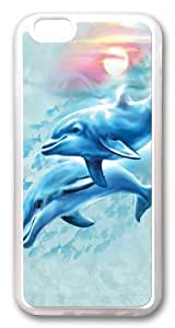 iPhone 6 Case,Dolphin Sunset TPU Silicone Rubber Case Cover for iPhone 6 4.7inch Transparent