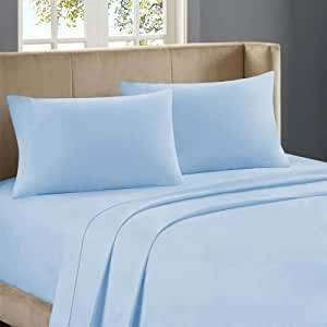 Nile Bedding Ultra Soft Egyptian cotton Fitted Sheet 25 Inches Deep Pocket 500 TC Solid ( Cal-Queen , Sky Blue )