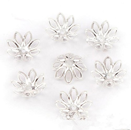 500PCS 15mm Gold Tone Flower Bead Caps Hollow Flower Bead Caps For Jewelry Making (silver)