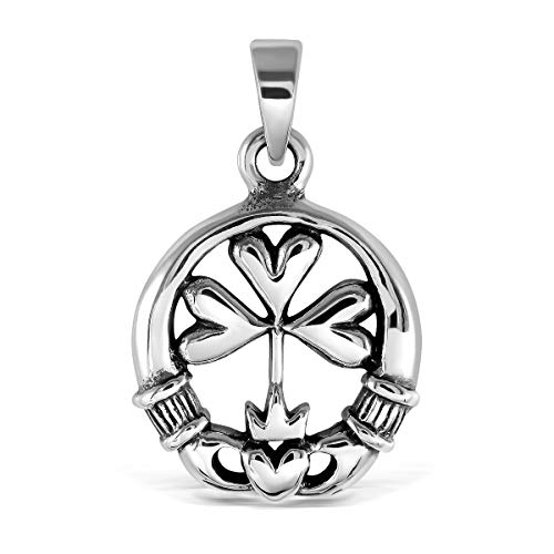 WithLoveSilver Sterling Silver Charm Celtic Claddagh Crown Shamrock Clover Heart Pendant