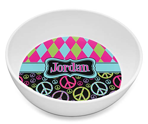 Harlequin & Peace Signs Melamine Bowl 8oz (Personalized)
