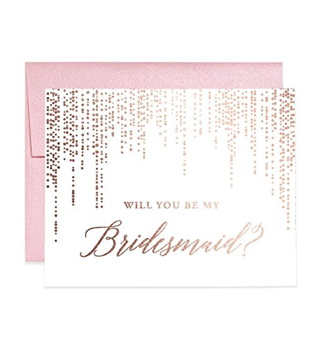 Rose Gold Foil Bridesmaid Proposal Cards Will You Be My Brides maid? Box Pack (Set of 5) Rosegold Foiled Five Wedding Engaged Bridal Party Cards Blush Pink Shimmer Metallic Envelopes CW0007-1 (Shimmer Card)