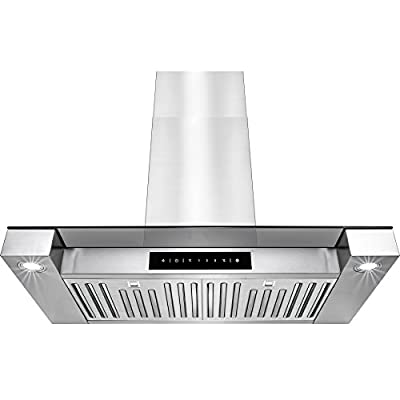 """Golden Vantage 30"""" Stainless Steel Wall Mount Touch Screen Display LED Light Lamp Baffle Filter Convertible Cooking Fan Kitchen Range Hood Vent"""