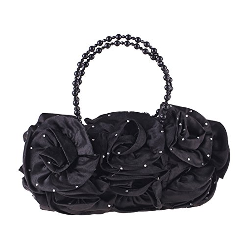 Clutch Handbag Women's Bag Purse Diamond Bag Simple Dress Pouch Evening JESSIEKERVIN Black Pearl xEAvqdvw