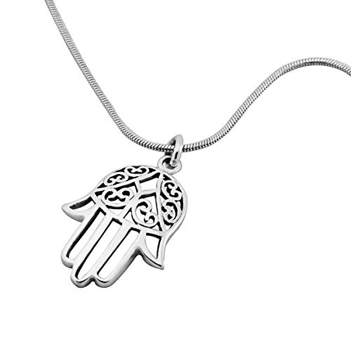 925 Sterling Silver Filigree Hamsa Hand of Fatima Pendant on Alloy Necklace Chain, 18 inches