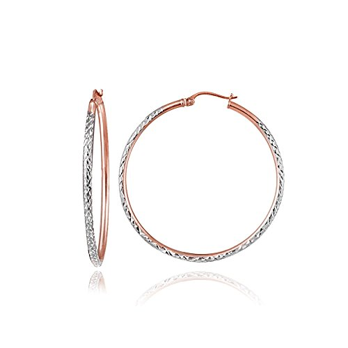 Rose Gold Flash Sterling Silver Two-Tone 2mm Diamond-Cut Round Hoop Earrings, 20mm