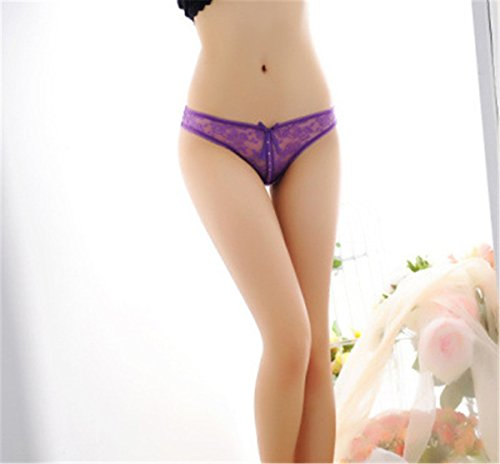 YALL-bragas de encaje de la ropa interior de la correa hembra de talle bajo diamante J Purple