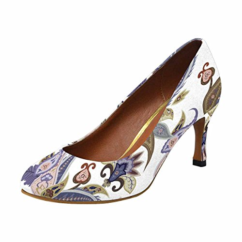 Interestprint Womens Klassiskt Mode Hög Klack Klänning Pump Skor Fantasiblommor Paisley Mönster