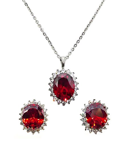 Created Garnet Stainless Steel Ring - Bijoux De Ja Set of Stainless Steel Created Gemstone Oval Cut Post Earrings and Pendant Chain Necklace 17 Inches (Bloody Mary Red Garnet)