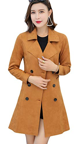 (chouyatou Women's Cute Lapel Collar Double Breasted Slim Lightweight Belted Suede Trench Coat (Large, Tan))