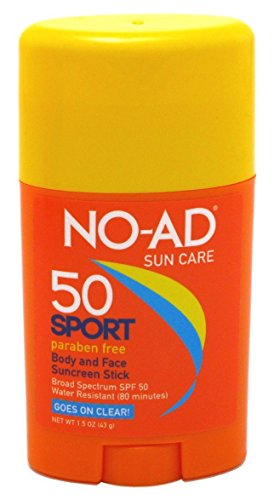 - NO-AD Sport Sun Care Body and Face Stick SPF 50 1.5 oz (Pack of 3)
