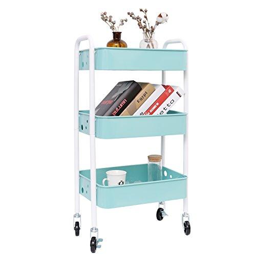 3-Tier Metal Rolling Utility Cart, Heavy Duty Storage Organizer Art Cart Craft Cart, Turquoise/White ()
