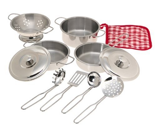 IQ Toys 11 Piece Stainless Steel Cookware Set - Pots, Pans, Lids, Strainer & ()
