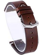 DFKai1run Klockarmband i läder, Wax Oil Skin Watch Straps Vintage Leather KLOCKARMBAND Watch Straps 18mm 20mm 22mm Svart Brun rostfritt Armband Tillfällig