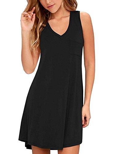 T-shirt Sleeveless Patch - KEEDONE Women's Sleeveless Pockets Casual Swing T-Shirt Dresses (XL, 01Black)