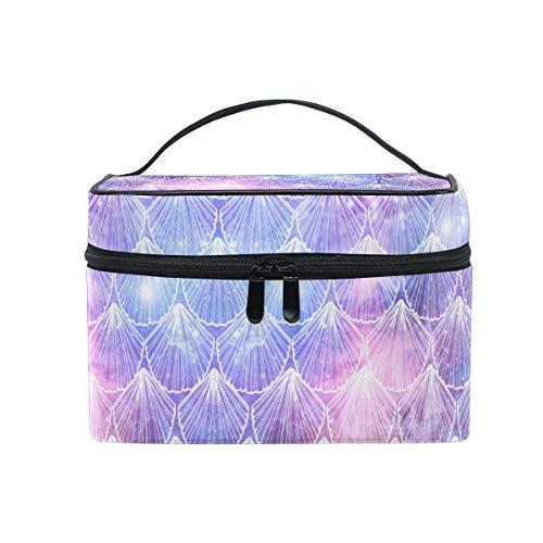 ZOEO Sea Shell Mermaid Makeup Train Case Purple Blue Galaxy Korean Carrying Portable Zip Travel Cosmetic Brush Bag Organizer Large for Girls Women]()