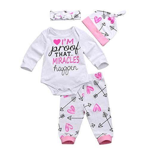 4 pcs Baby Girls Pants Set Newborn Infant Toddler Letter Romper Arrow Heart Pants Hats Headband Clothes (Pink 01, 0-6 Months)
