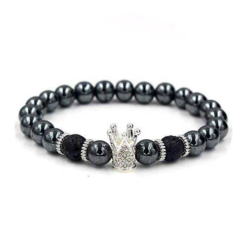 Micro Pave Cubic Zirconia Crown Charm Bracelet Men Women's Crack Stone Beads Bracelet Jewelry,ZJ2003S,Size S 16-17cm