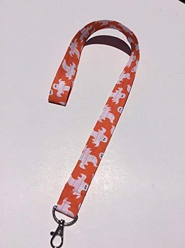 Ghost Lanyard Keychain Key Keeper Halloween White and Orange ID Badge Holder -