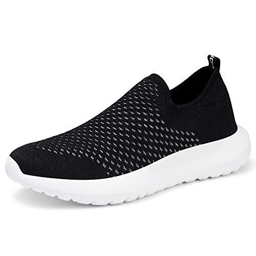 TIOSEBON Women's Casual Walking Shoes Lightweight Slip On Travel Sneakers 6.5 US Black