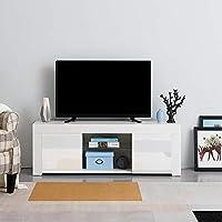 Mueble de TV con luz LED RGB para TV de 230 cm de Largo y 125 x 35 x 40 cm de Largo Blanco: Amazon.es: Electrónica