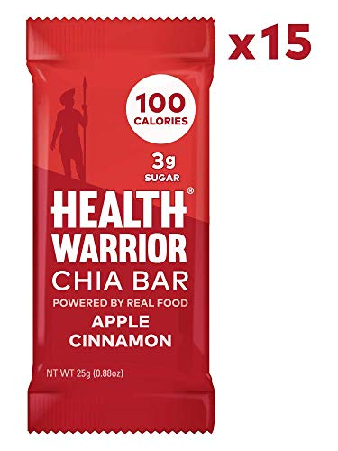 HEALTH WARRIOR Chia Bars, Apple Cinnamon, Gluten Free, Vegan, 25g bars, 15 Count