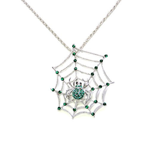 Faship Spider Web Necklace Pendant Green Rhinestone Crystal (Spiderweb Rhinestone Necklace)