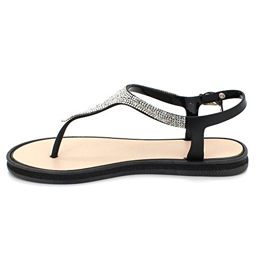Post Taille Soir Chaussures Plat Été des Noir léger Pantoufle Sandales Décontractée Doux Slingback Toe Femmes Diamante Dames Poids Eqx1RaR