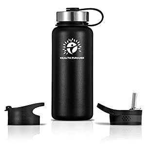 Stainless Steel Water Bottle/Thermos: ​32 Oz.​ Double Walled Vacuum Insulated Wide Mouth Travel Tumbler, Reusable BPA Free Twist Lid Bottles for Hot or Cold Liquid: Bonus Flip & Straw Lids - ​Black