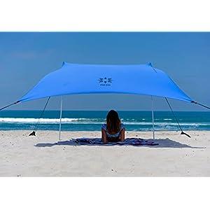Neso Tenda da Spiaggia Tents con Ancoraggio a Sabbia, Parasole Portatile - 2.1m x 2.1m - Angoli rinforzati brevettati… 4 spesavip