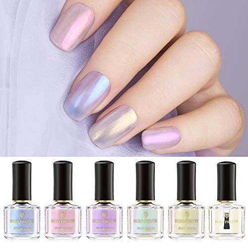 BORN PRETTY Nail Polish Pearl Transparent Shell Glimmer Shiny Shimmers Manicuring Nail Art Varnish White Base Color Needed 5 Colors Set